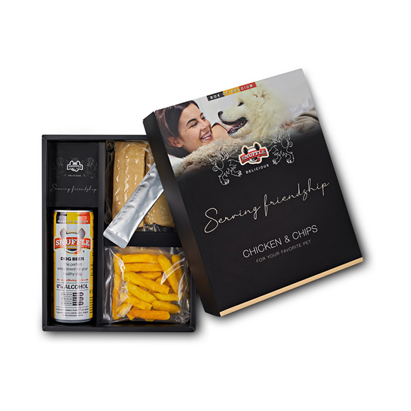 Delicious Box with a can of Snuffle Dog Beer, Fries and goodies in a beautiful box. Chicken & Chips Taste.