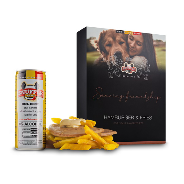 Delicious Box with a can of Snuffle Dog Beer, Fries and goodies in a beautiful box. Hamburger & Fries Taste.