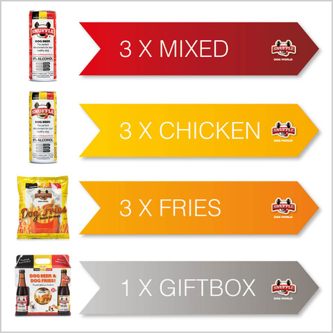 Combibox 3 cans of beef taste - 3 cans of chicken-beef taste - 3 bags of fries - 1 giftbox