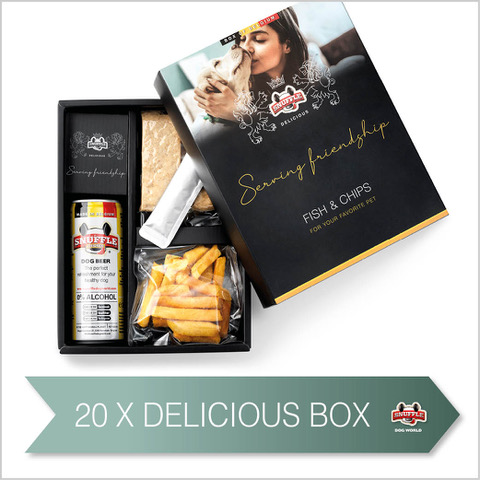 20 Delicious Boxes with a can of Snuffle Dog Beer, Fries and goodies in a beautiful box.