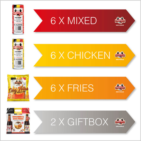 Combibox 6 cans of beef taste - 6 cans of chicken-beef taste - 6 bags of fries - 2 giftboxes
