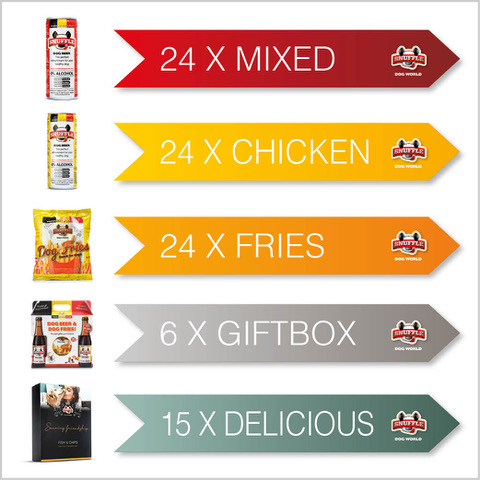Combibox 24 cans of beef taste - 24 cans of chicken-beef taste - 24 bags of fries - 6 giftboxes and 15 giftboxes from each taste 5